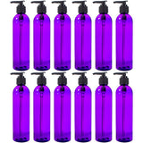 Purple Plastic Slim Cosmo Bottle with Black Lotion Pump - 8 oz / 250 ml