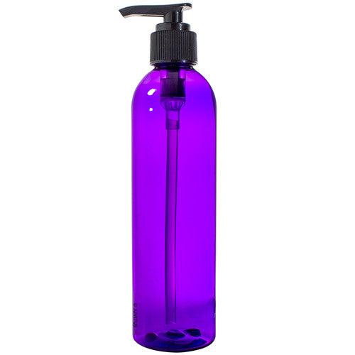 Purple Slim Plastic PET Refillable Bottles) with Black Lotion Pump - 8 oz + Labels