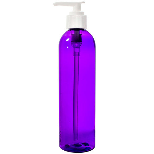 Purple Plastic Slim Cosmo Bottle with White Lotion Pump - 8 oz / 250 ml