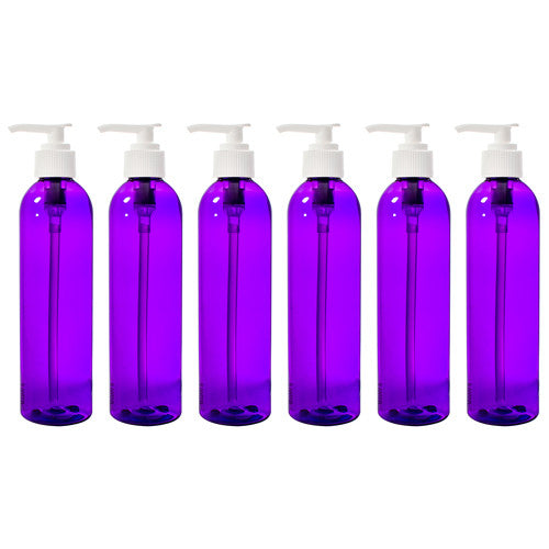 Purple Slim Plastic PET Refillable Bottles) with White Lotion Pump - 8 oz + Labels