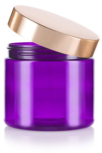 Plastic Jar in Purple with Gold Metal Overshell Lid - 16 oz / 480 ml