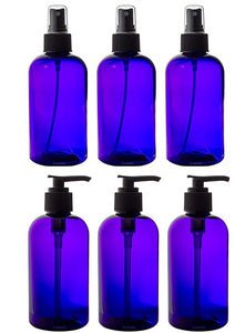 Purple PET (BPA Free) Refillable Plastic Bottles with Black Sprayers and Lotion Pumps - 8 oz (6 Pack)
