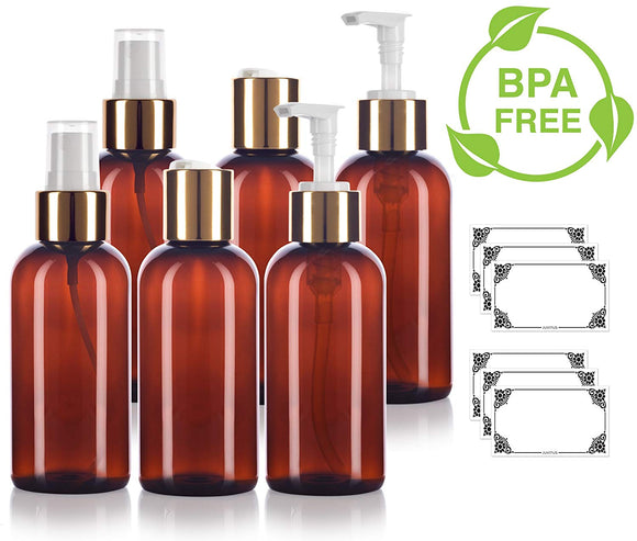 Amber 4 oz / 120 ml PET Plastic Bottle with Gold Closure 6 PACK Set - 2 - Fine Mist Sprayers, 2 - Lotion Pump Dispensers, 2 - Disc Caps + Labels for Home, Bath, and Kitchen Display and Organization
