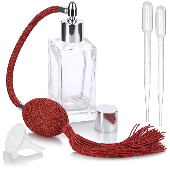 Perfume Empty Refillable Glass Square Bottle with Antique Red Bulb Sprayer with Tassel 1.64 oz / 50 ml with funnel and pipettes