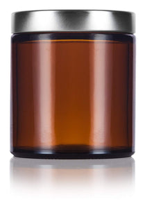 Glass Jar in Amber with Silver Metal Foam Lined Lid - 4 oz / 120 ml - JUVITUS