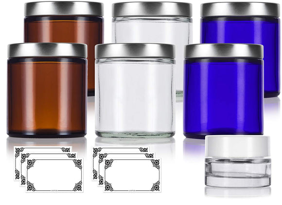4 oz/120 ml Cobalt Blue, Amber and Clear Glass Straight Sided Glass Jar Set with Silver Metal Lids (6 PACK - 2 of each) + Small Glass Balm Jar and Labels for Travel, Aromatherapy, Essential Oils