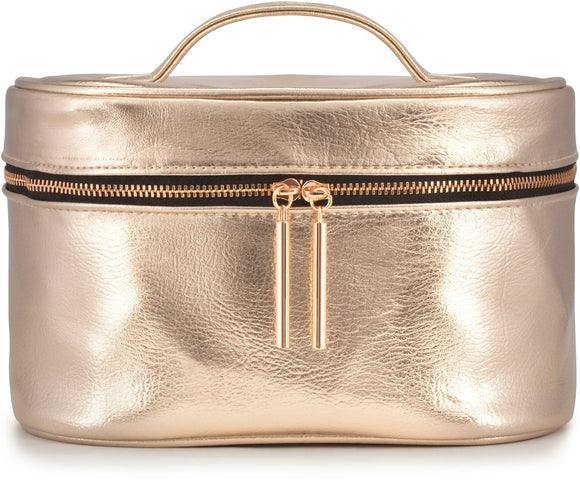 Large Rose Gold Metallic Cosmetic Makeup Train Toiletry Organizer Bag for Travel & Storage, Made of Vegan Leather