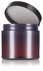 Plastic Jar in Amber with Black Foam Lined Lid - 16 oz / 480 ml