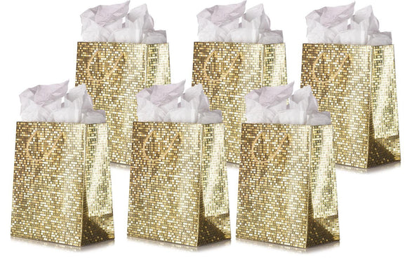 Gold Metallic Luxury Mosaic Tile Textured Print Design Gift Bag - Medium Size Bag - (7.75