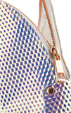 Holographic Seashell Shape Cosmetic Bag Made of Iridescent Pebbled Vegan Faux Leather (JB70)