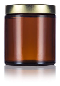 Glass Jar in Amber with Gold Metal Foam Lined Lid - 4 oz / 120 ml