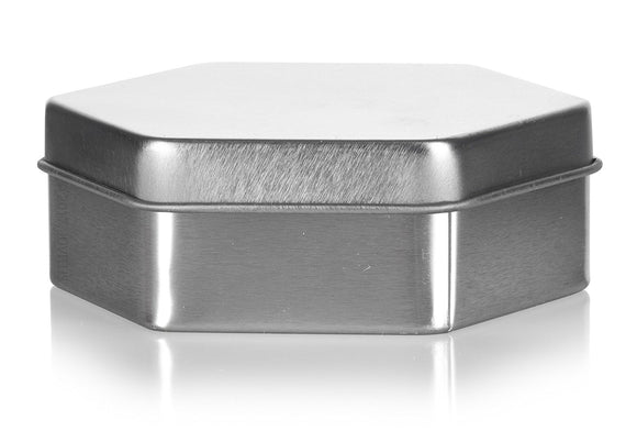 Hexagon Low Profile Steel Metal Tin Container with Tight Sealed Slip Cover Lid - Holds Approx. 2 fl oz