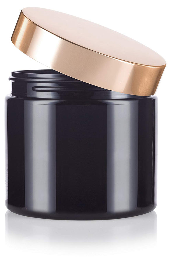 Plastic Jar in Black with Gold Metal Overshell Lid - 16 oz / 480 ml