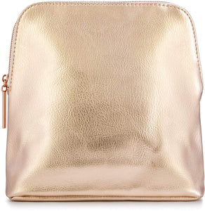 Large Rose Gold Metallic Premium Vegan Leather Clutch Pouch Bag, Fully Lined with Rose Gold Zipper (Mia)