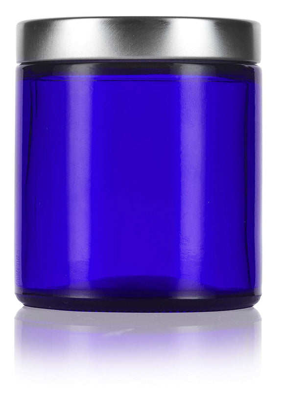 Glass Jar in Cobalt Blue with Silver Metal Foam Lined Lid - 4 oz / 120 ml