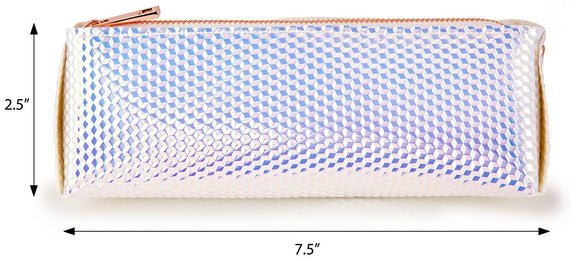 Holographic Makeup Brush and Cosmetic Bag Made of Iridescent Pebbled Vegan Faux Leather with Top Zipper (JB75)
