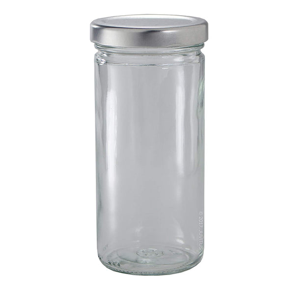 Glass Paragon Jar in Clear with Silver Metal Plastisol Lid - 8 oz / 240 ml