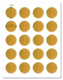 Shiny Gold Foil Round Starburst Labels, 1.75 Inch Diameter, for Laser Printers with Downloadable Template and Printing Instructions, 5 Sheets, 100 Labels (ST17)