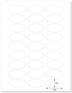 Waterproof White Matte 2 x 1 Inch Oval Labels for Laser Printer with Template and Printing Instructions, 5 Sheets, 135 Labels (JV21)