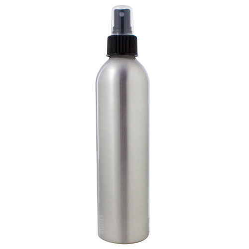 Metal Aluminum Bottle in Silver with Black Fine Mist Spray - 8 oz / 250 ml