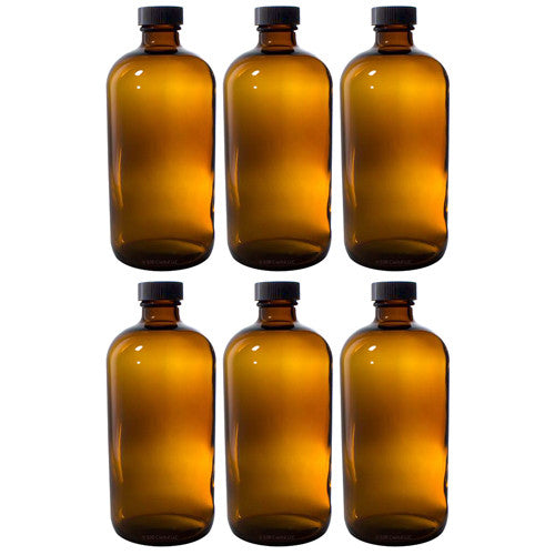 Amber Glass Boston Round Bottle with Black Phenolic Cone Lined Cap - 8 oz + Labels