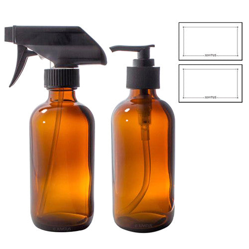 Amber Boston Round Thick Glass Spray and Pump Bottle Set - 8 oz + Labels