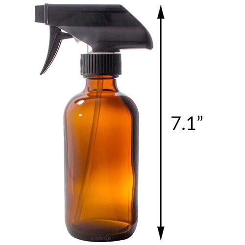 Amber Boston Round Thick Glass Spray Bottle - 8 oz + Label