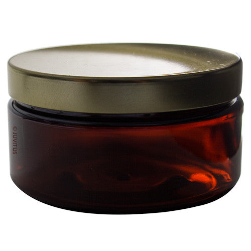 Plastic Jar in Amber with Gold Metal Foam Lined Lid - 8 oz / 240 ml