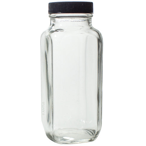 Clear Glass French Square Bottle with Black Lid - 8 oz / 250 ml