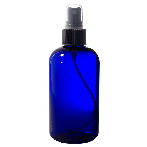Cobalt Blue Plastic Boston Round Fine Mist Spray Bottle with Black Sprayer - 8 oz / 250 ml