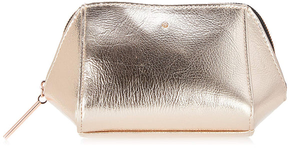 Rose Gold Metallic Cosmetic, Makeup, or Toiletry Bag Pouch for Travel and Organization - Made of Premium Vegan Leather