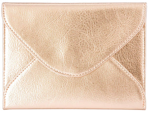 Extra-Small Envelope Clutch Bag, 6.7 x 5.2 inches, Metallic Rose Gold For Cosmetics, Makeup, Cellphone, and Wallet - Made of Premium Vegan Leather (XSV5)