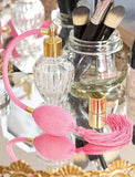 Clear Glass Refillable Vintage Perfume Bottle with Pink Bulb & Tassel Atomizer Sprayer - 1.64 oz / 50 ml Funnel + Pipette