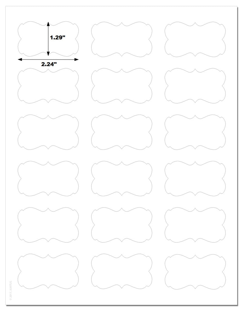 Decorative Standard White Matte Semi-Rectangle Labels, 2.24 x 1.29 Inches, with Downloadable Template and Printing Instructions, 5 Sheets, 90 Labels (XR22)