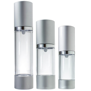 Refillable Set Airless Pump Bottles in Silver Matte - 3 Pack (1 each - 0.5 oz, 1 oz, and 1.7 oz)