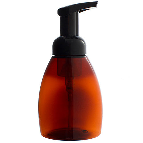 Plastic Foaming Bottle in Amber with Black Foam Pump Dispenser - 8.3 oz / 250 ml