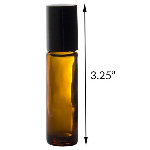 Amber Aromatherapy Glass Bottle with Roll On Applicator and Black Cap - 0.33 oz