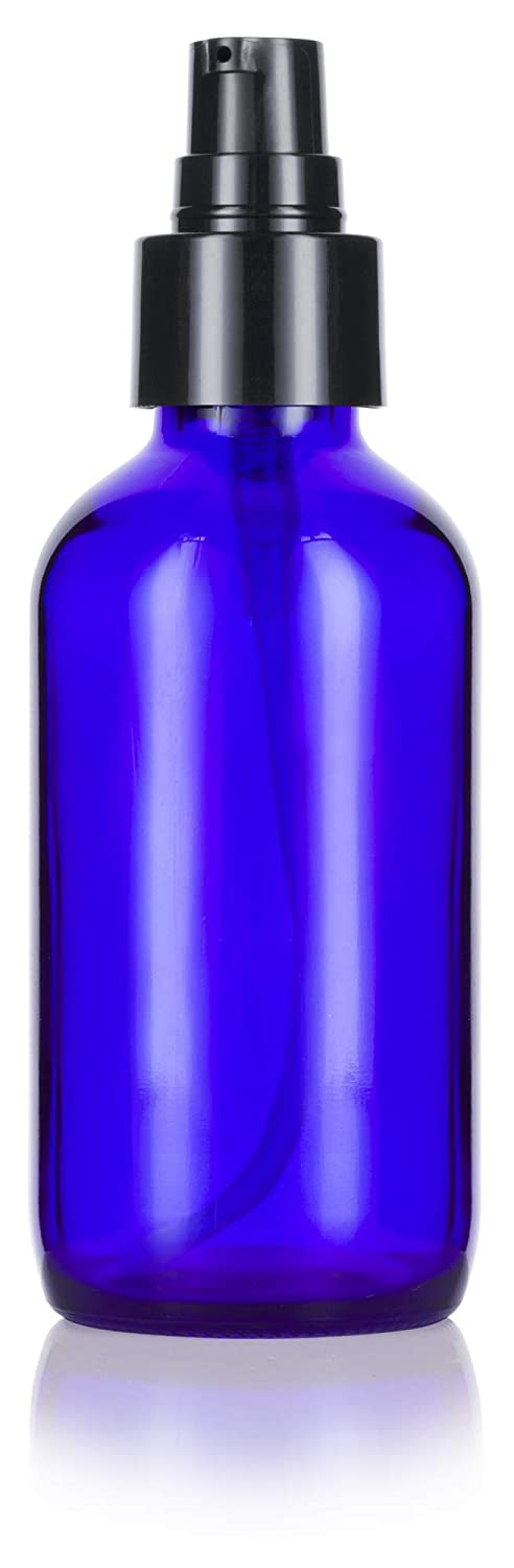Cobalt Blue Glass Boston Round Treatment Pump Bottle with Black Top - 4 oz / 120 ml
