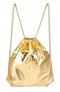 Gold Metallic Drawstring Backpack Gym Sack Bag – Lightweight and Foldable for Gym, Travel or Party Favor