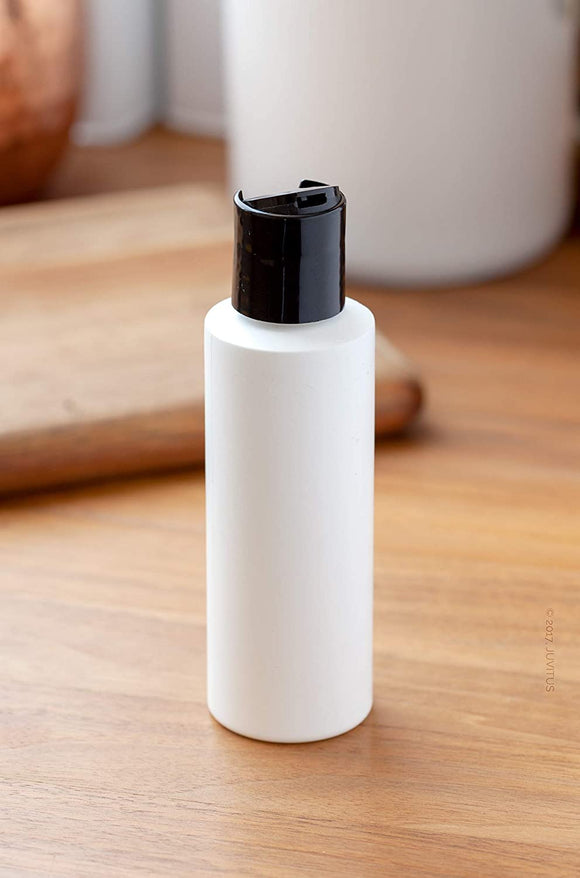 4 oz / 120 ml White Plastic HDPE Refillable Cylinder Squeeze Bottle with Black Disc Cap