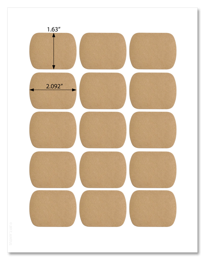 "Textured Brown Kraft Round Corner Rectangle Labels, 2.092"" x 1.633"", with Downloadable Template and Printing Instructions, 5 Sheets, 75 Labels (BMT2)"