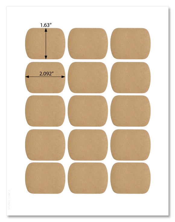 Textured Brown Kraft Round Corner Rectangle Labels, 2.092