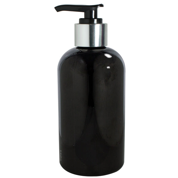 Plastic Boston Round Bottle in Black with Silver Lotion Pump - 8 oz / 250 ml