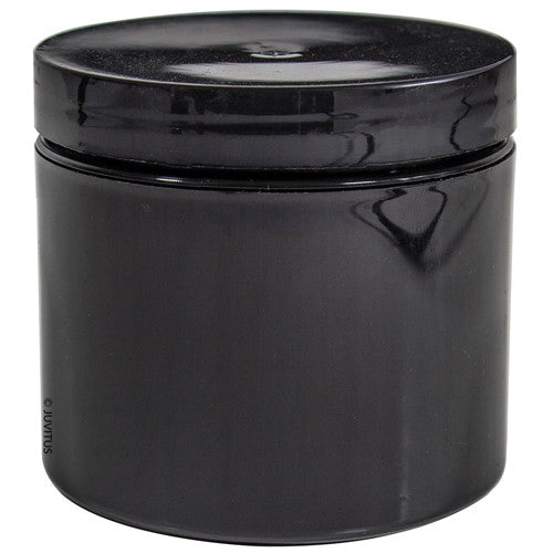 Black Double Wall Plastic Jar with Airtight Lined Lid - 4 oz + Spatulas and Labels