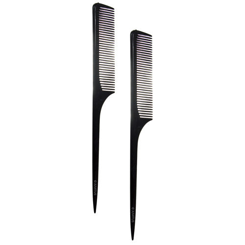 "Fine Tooth Teasing Tail Comb 9"", with Thin and Long Handle (2 Pack)"