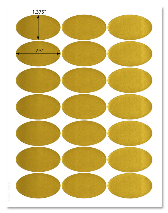 Shiny Gold Foil Oval Labels, 2.5 x 1.37 Inches, For Laser Printers with Template and Printing Instructions, 5 Sheets, 105 Labels (GO25)