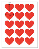 Red Heart Shaped Labels, 2.2 x 1.8 Inches, with Downloadable Template and Printing Instructions, 5 Sheets, 75 Labels (HTR4)