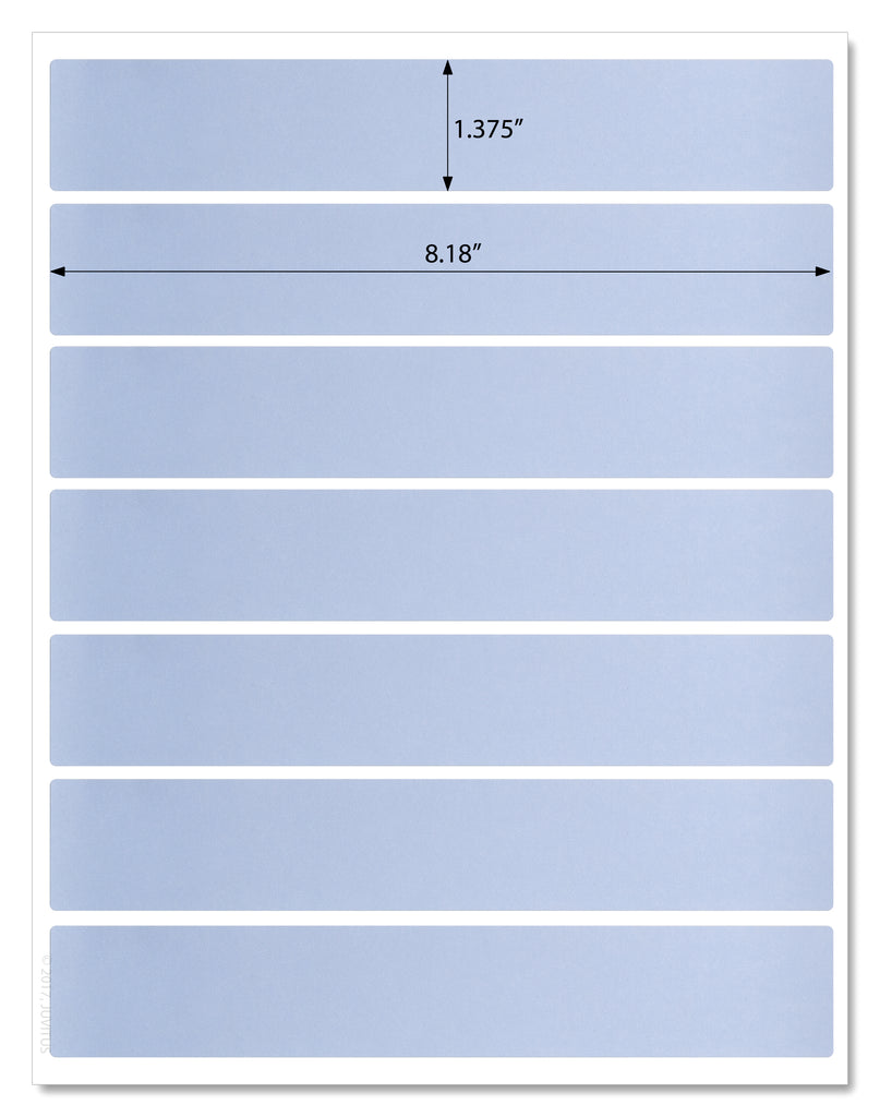 "Light Blue Water Bottle Labels - 8.1875"" x 1.375"" Rectangle Labels for Inkjet and Laser Printers with Template and Printing Instructions, 5 Sheets, 35 Labels (WB8)"