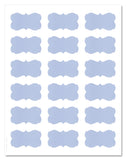 Decorative Light Blue Semi-Rectangle Labels, 2.24 x 1.29 inches, with Downloadable Template and Printing Instructions, 5 Sheet, 90 Labels (PB22)
