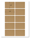 "Textured Brown Kraft 3"" x 2"" Round Corner Rectangle Labels With Template and Printing Instructions, 5 Sheets, 50 Labels (RB32)"